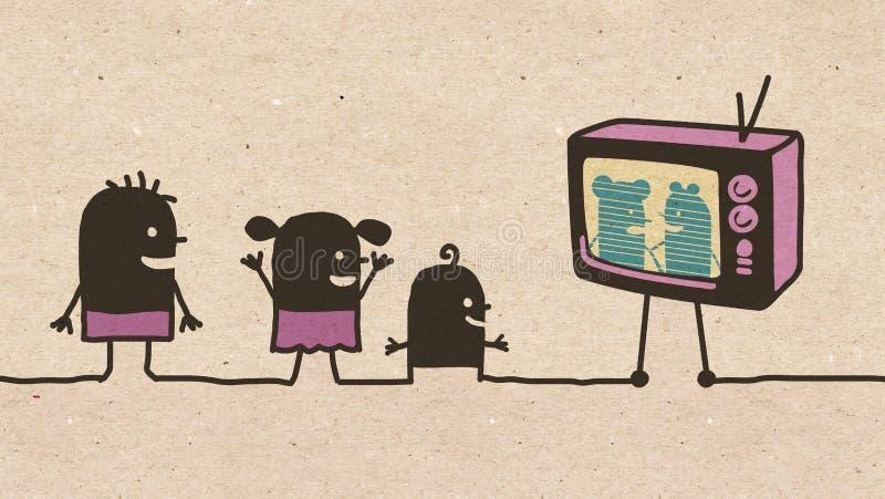 Enfants noirs de bande dessinée regardant la TV illustration de vecteur