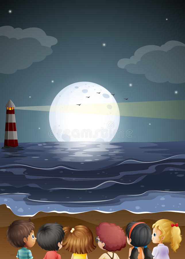 Enfants observant le fullmoon à la plage illustration de vecteur