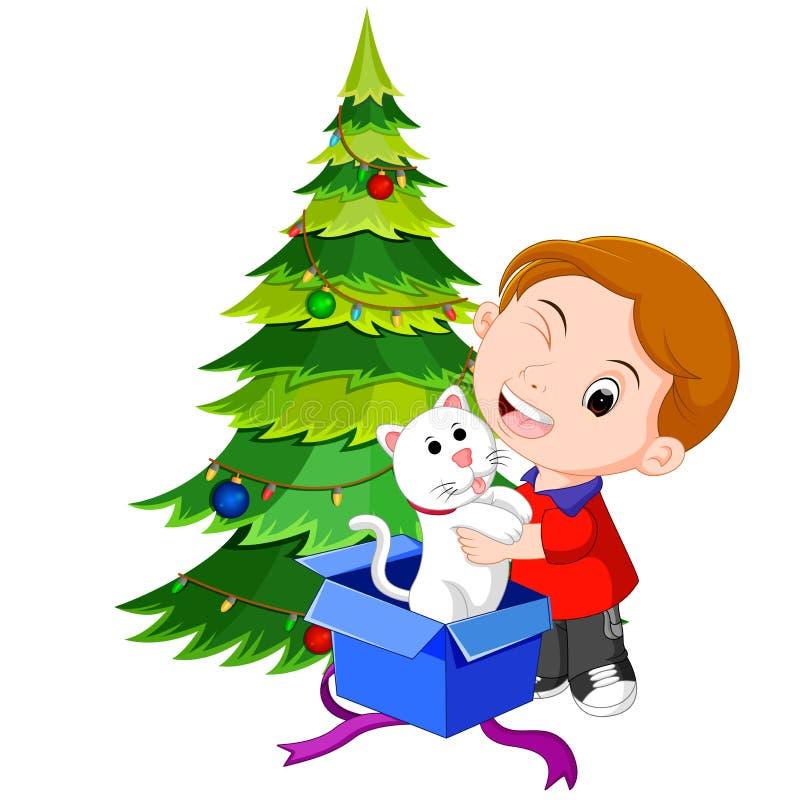 Enfants obtenant des présents pour Noël illustration de vecteur