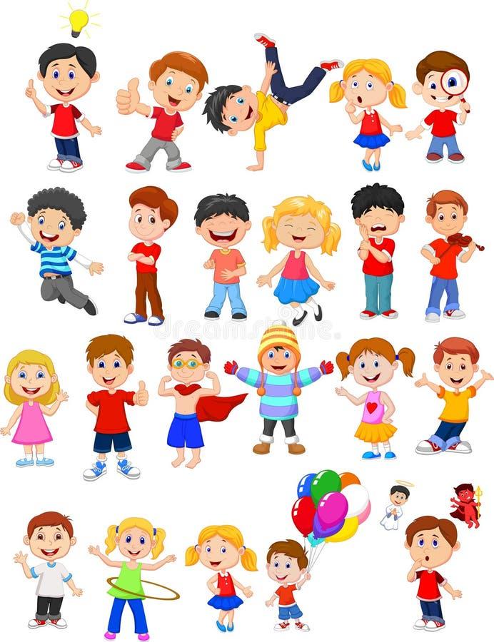 Enfants occupés dans l'expression différente illustration de vecteur