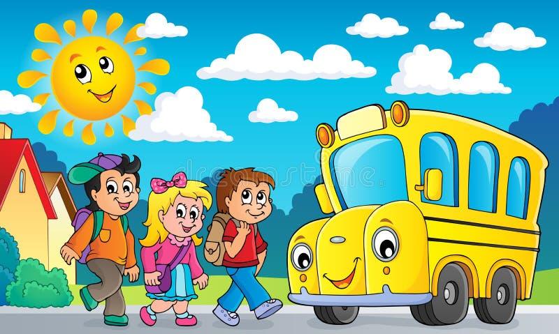 Enfants par l'image 2 de thème d'autobus scolaire illustration stock