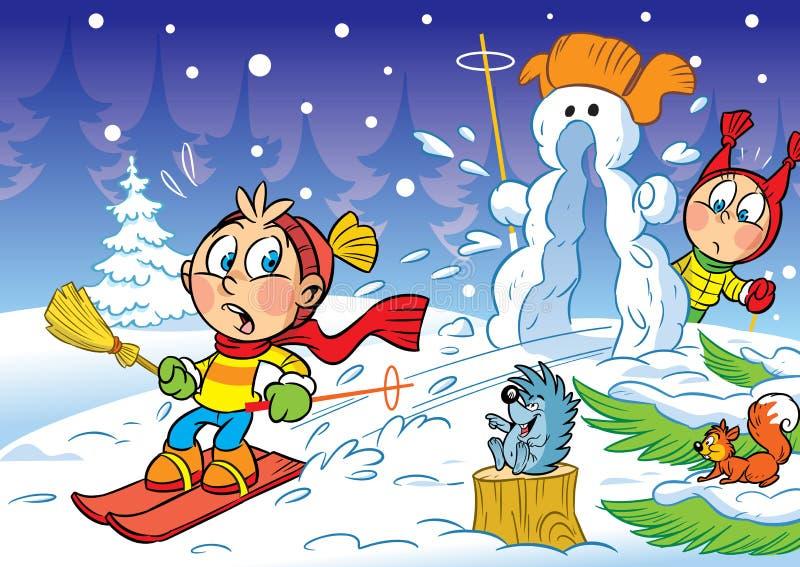 Enfants pendant l'hiver sur des skis illustration libre de droits