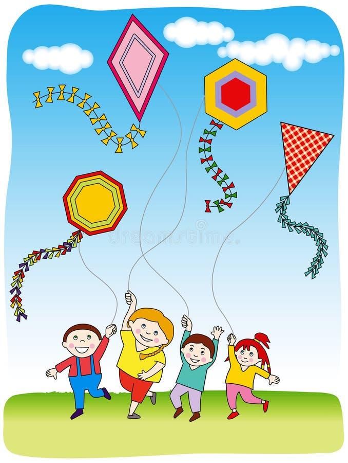 Enfants pilotant des cerfs-volants illustration stock