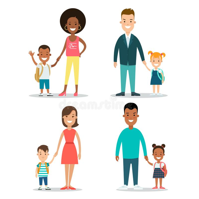 Enfants plats de famille parenting l'illustration illustration libre de droits