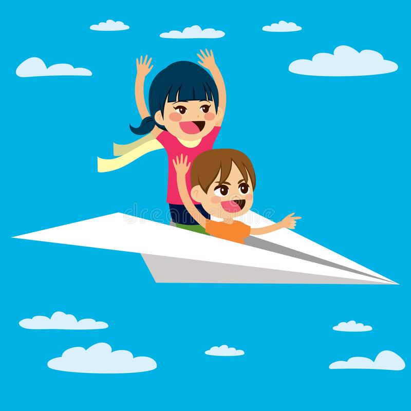 Enfants plats de papier de vol illustration de vecteur