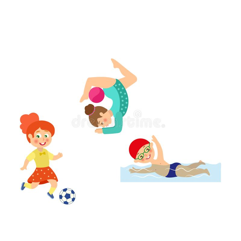 Enfants plats de vecteur faisant des sports réglés illustration stock