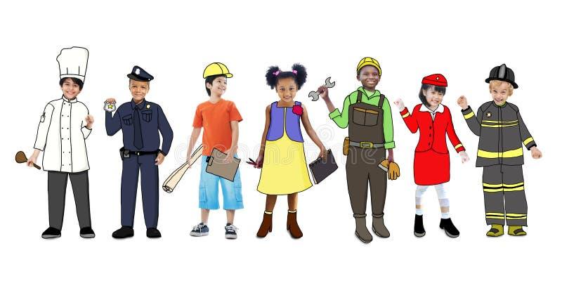 Download Enfants Portant Futur Job Uniforms Illustration Stock - Illustration du pompier, élémentaire: 45364915