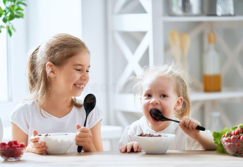 Enfants prenant le petit déjeuner photographie stock libre de droits