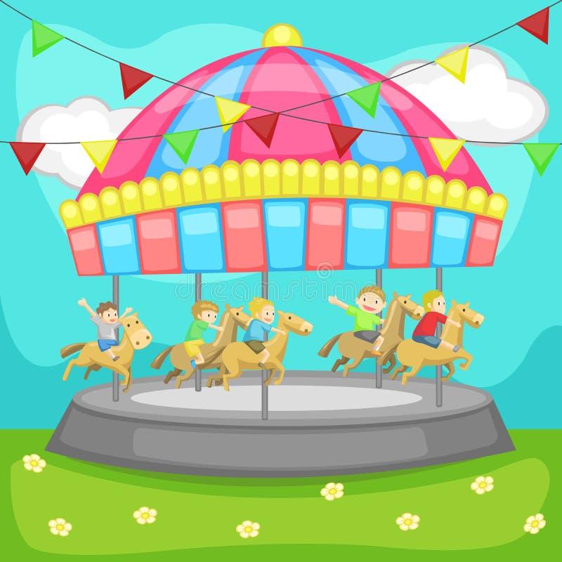 Enfants profitant d'un agréable moment dans un carrousel illustration stock