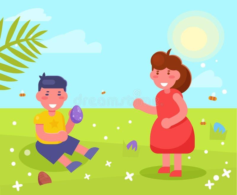 Enfants recherchant des oeufs pour le vecteur de Pâques cartoon Art d'isolement illustration de vecteur
