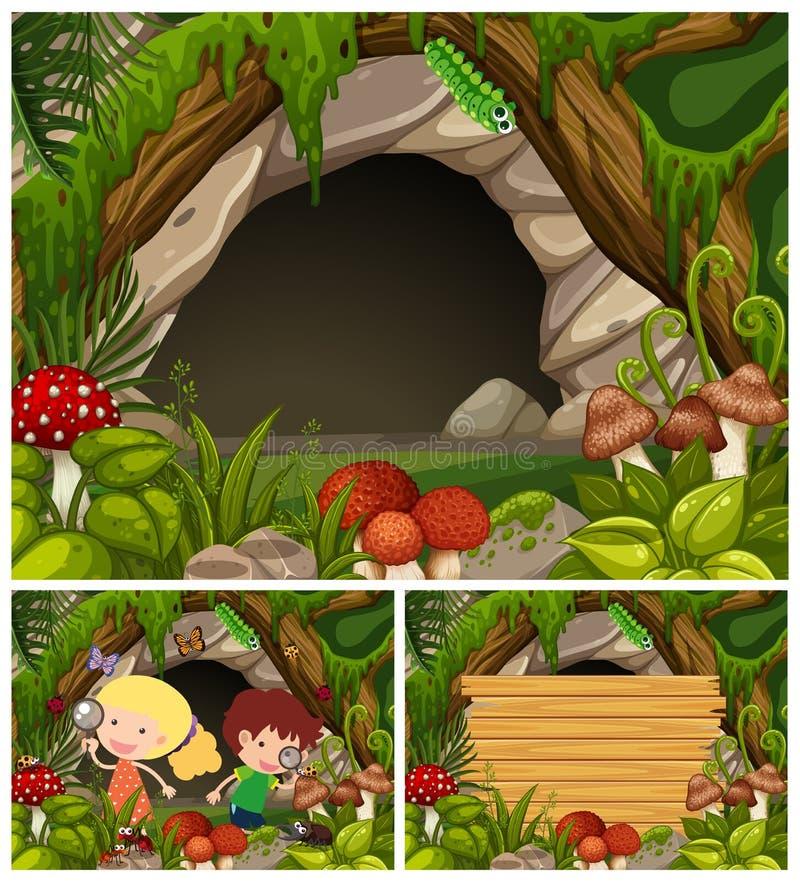 Enfants regardant des insectes par la caverne illustration libre de droits