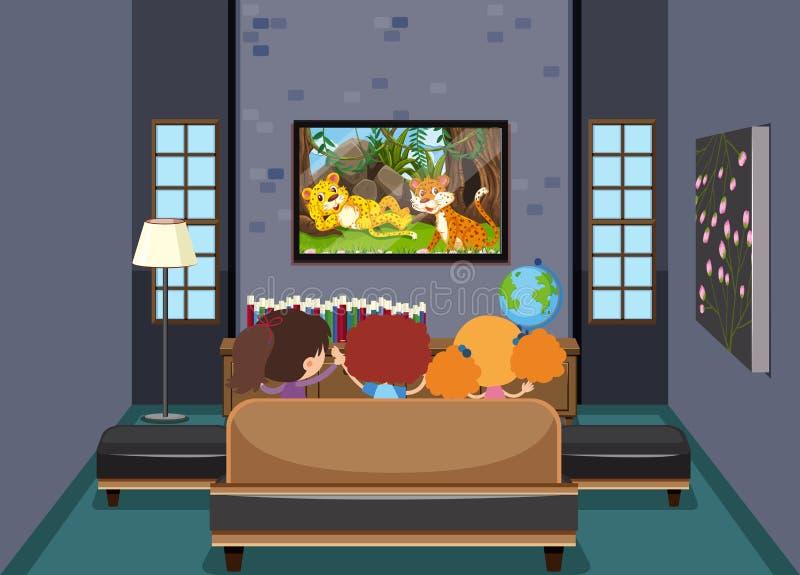 Enfants regardant la TV dans le salon illustration stock