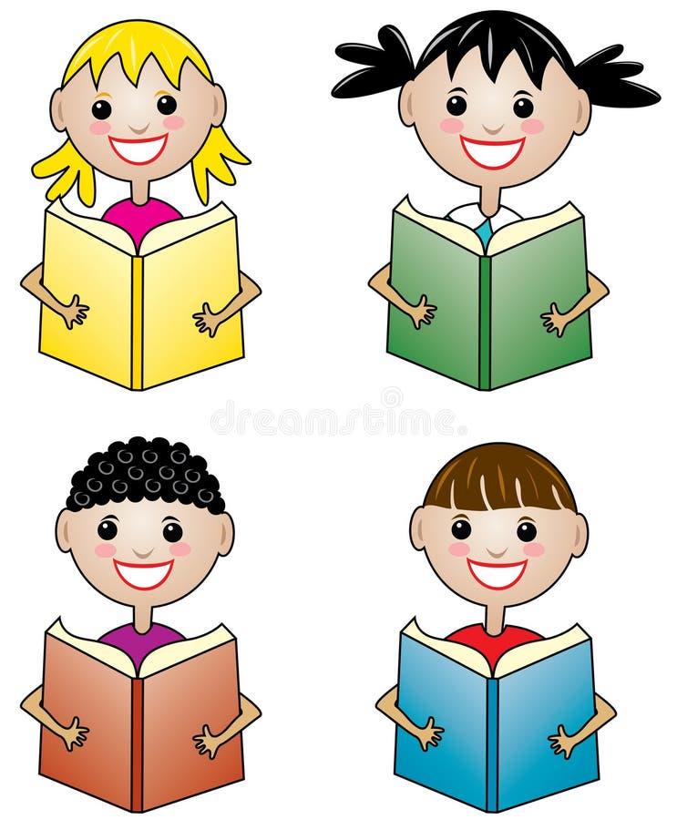 Enfants retenant des livres illustration de vecteur