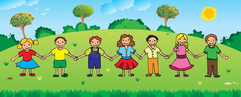Enfants retenant des mains illustration libre de droits