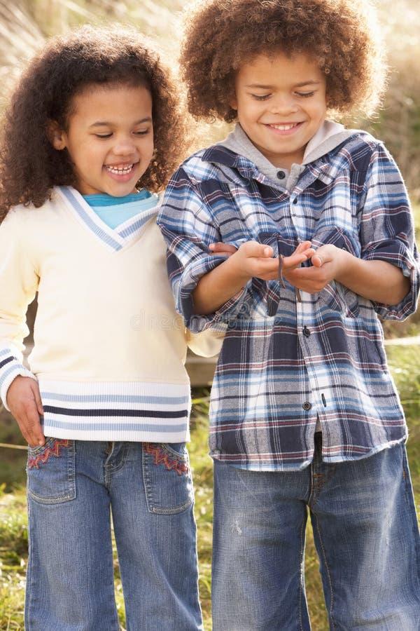 Enfants retenant le ver de terre à l'extérieur photo stock