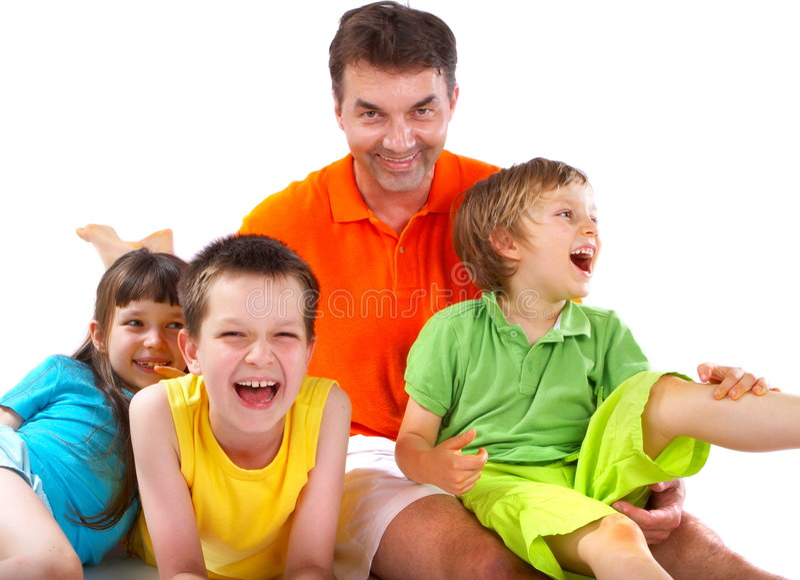 Enfants riant avec l'oncle   image stock