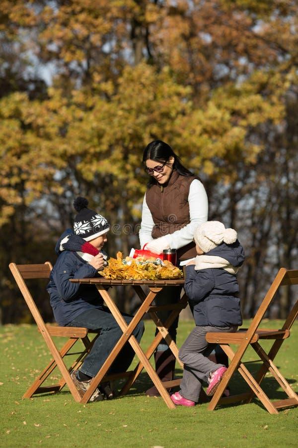 Enfants s'asseyant à la table en bois sur un pique-nique photo stock