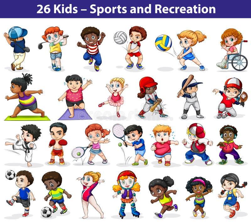 Enfants s'engageant dans différentes activités illustration libre de droits