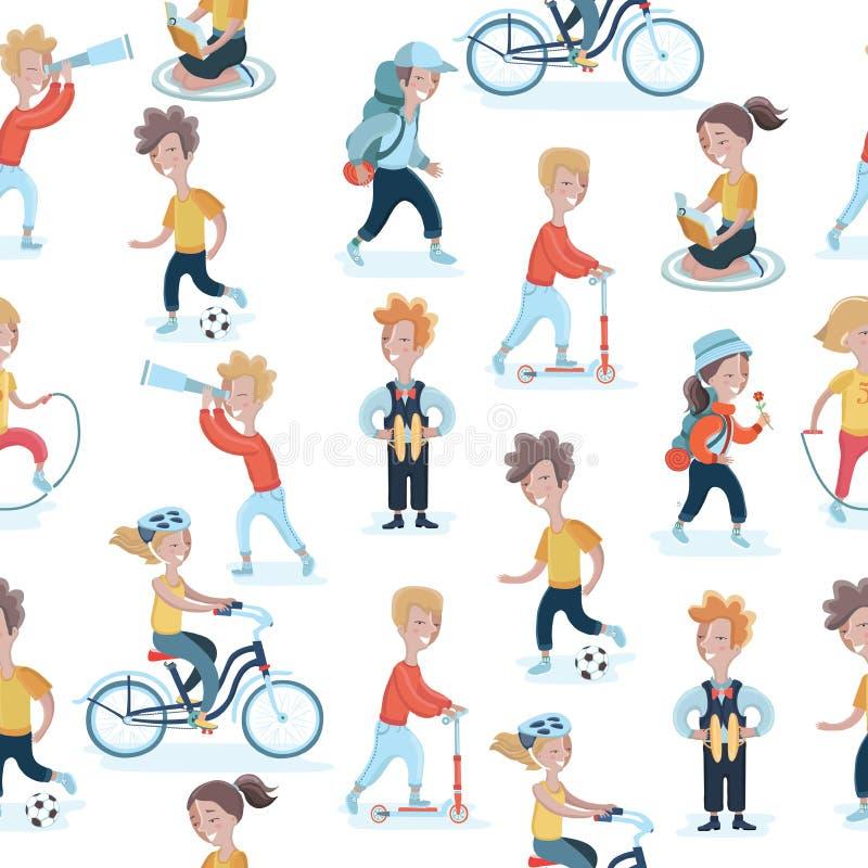 Enfants sans couture dans différentes actions illustration libre de droits