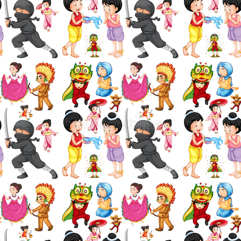Enfants sans couture de différentes cultures illustration de vecteur