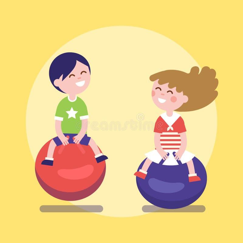 Enfants sautant à cloche-pied sur boules sautantes illustration libre de droits