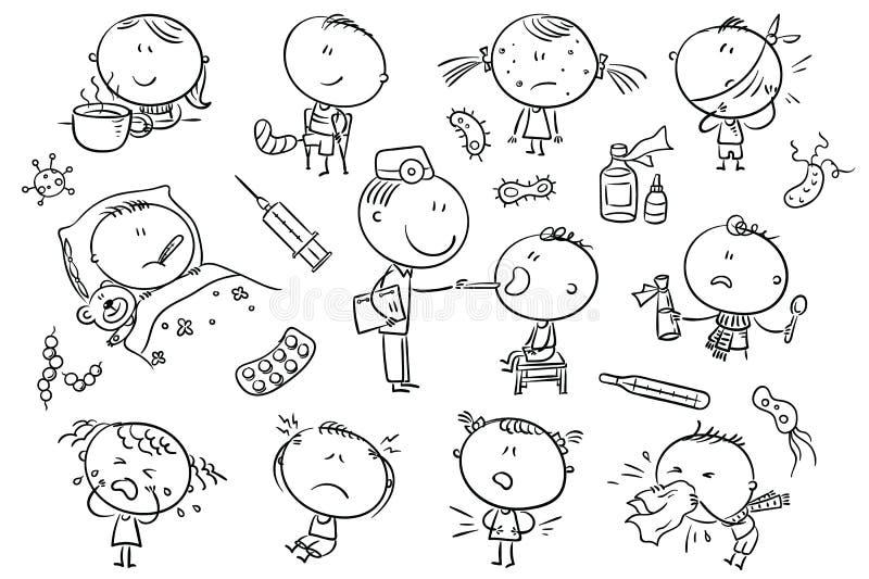 Enfants se sentant contour souffrant et noir et blanc illustration libre de droits