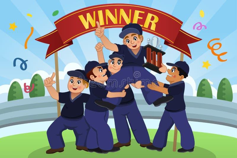 Enfants se soulevant vers le haut du trophée illustration stock