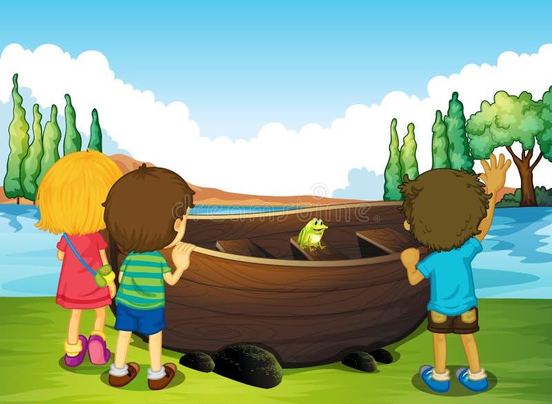 Enfants se tenant à côté du bateau illustration stock