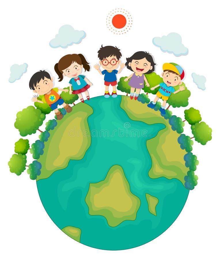 Enfants se tenant autour de la terre illustration libre de droits