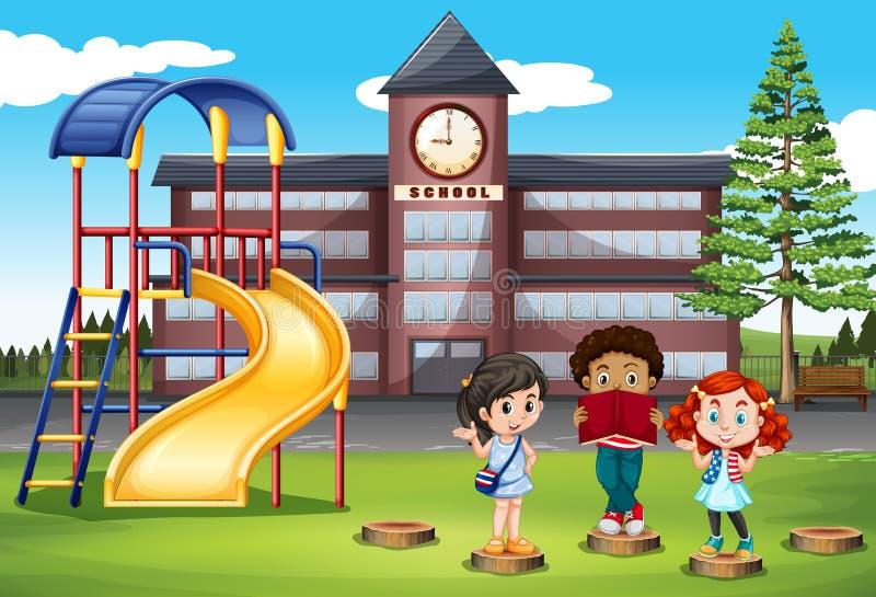 Enfants se tenant devant l'école illustration de vecteur