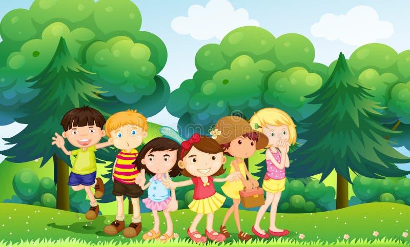 Enfants se tenant en parc illustration de vecteur