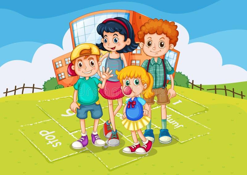 Enfants se tenant en parc d'école illustration stock