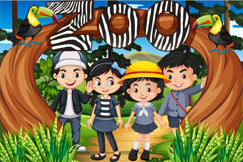 Enfants se tenant sous le signe de zoo illustration libre de droits