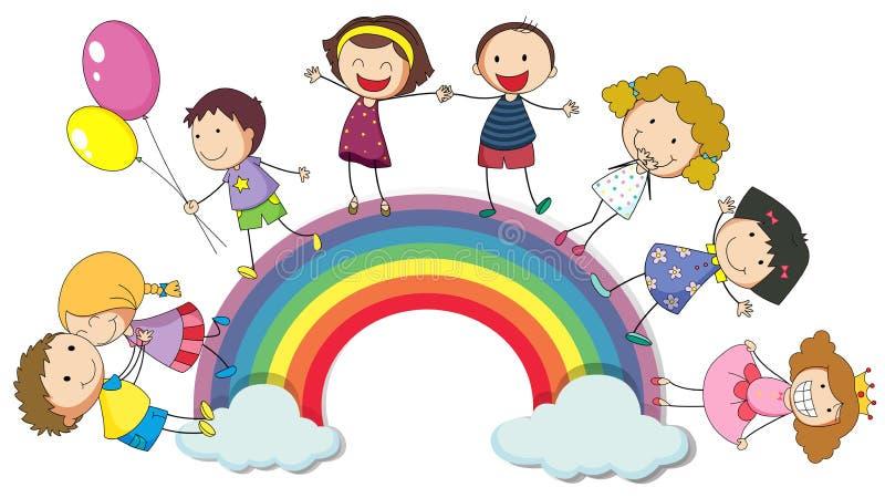 Enfants se tenant sur l'arc-en-ciel illustration de vecteur