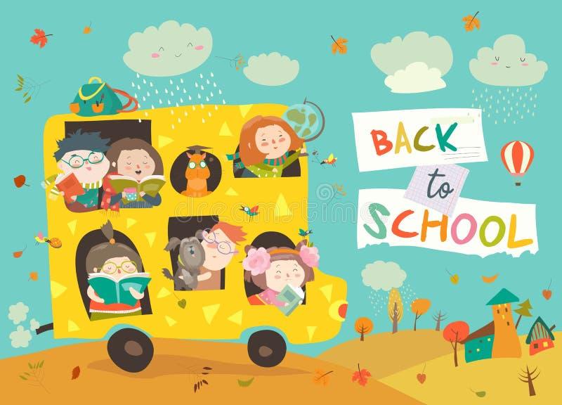Enfants sur le chemin à l'école illustration libre de droits