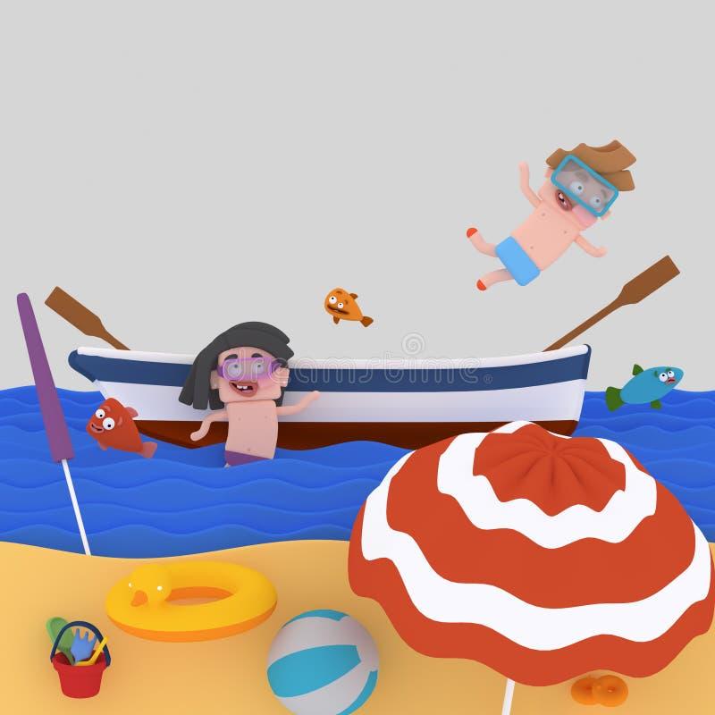Enfants sur un bateau à la plage illustration libre de droits