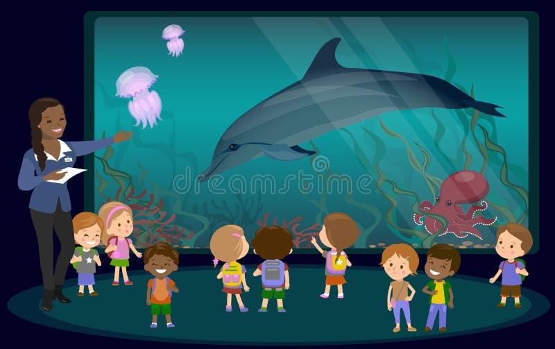 Enfants sur une excursion dans l'aquarium illustration de vecteur