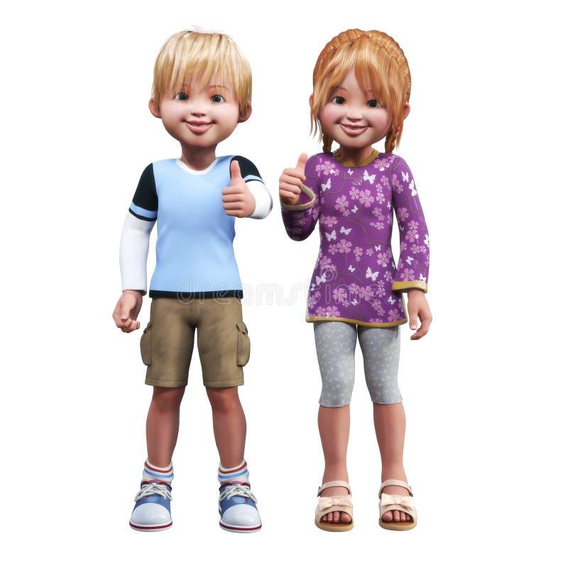 Enfants tenant des pouces de l'approbation sur un fond blanc d'isolement illustration de vecteur