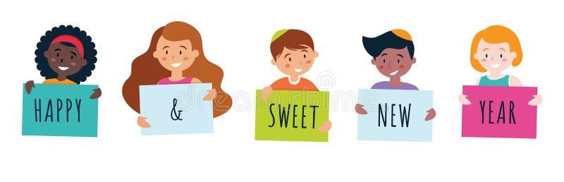 Enfants tenant des signes indiquant la nouvelle année douce heureuse pour le hashana de rosh Vecteur illustration libre de droits