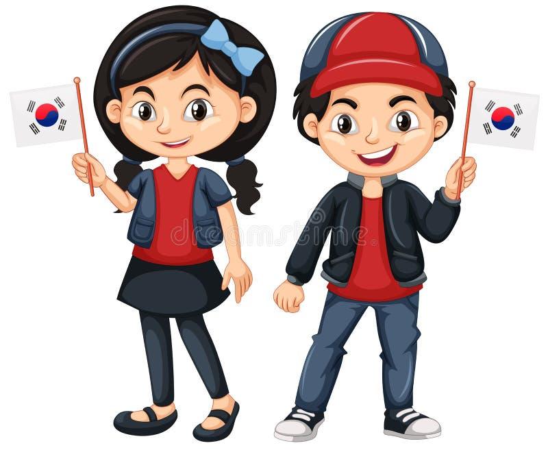 Enfants tenant le drapeau de la Corée du Sud illustration de vecteur