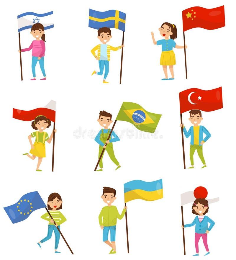 Enfants tenant les drapeaux nationaux des différents pays, éléments de conception pour le Jour de la Déclaration d'Indépendance,  illustration de vecteur