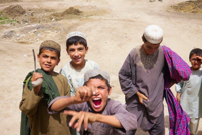 Enfants turbulents dans Kandahar Afghanistan photographie stock