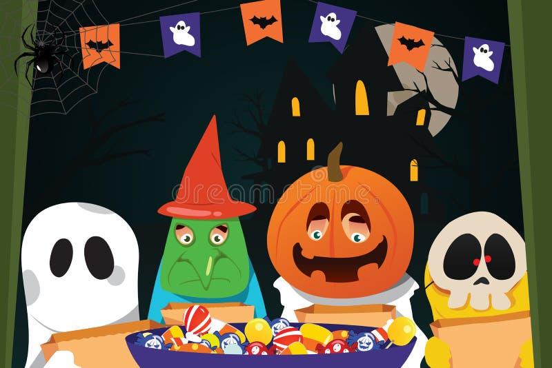 Enfants utilisant des costumes de Halloween faisant le des bonbons ou un sort illustration de vecteur
