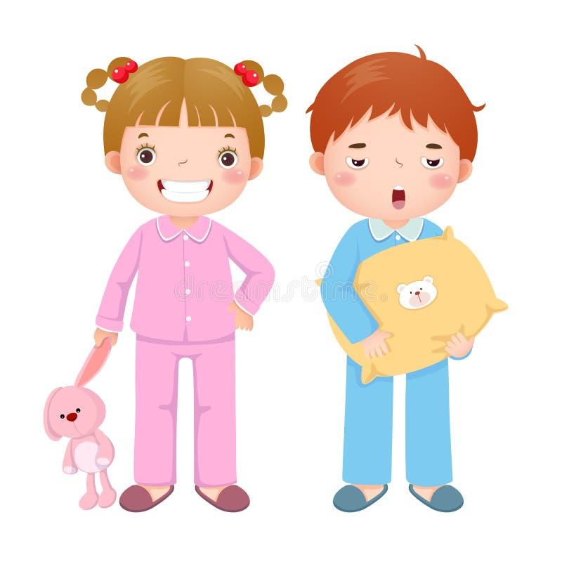 Enfants utilisant des pyjamas et étant prêts pour dormir illustration libre de droits