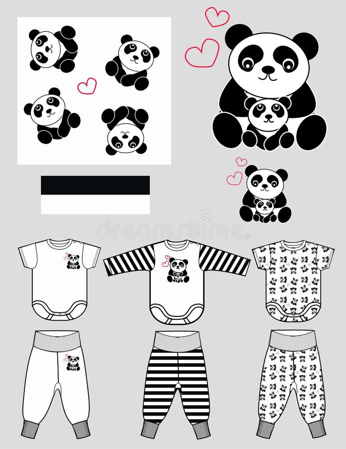 enfants vêtant la configuration de panda   illustration de vecteur