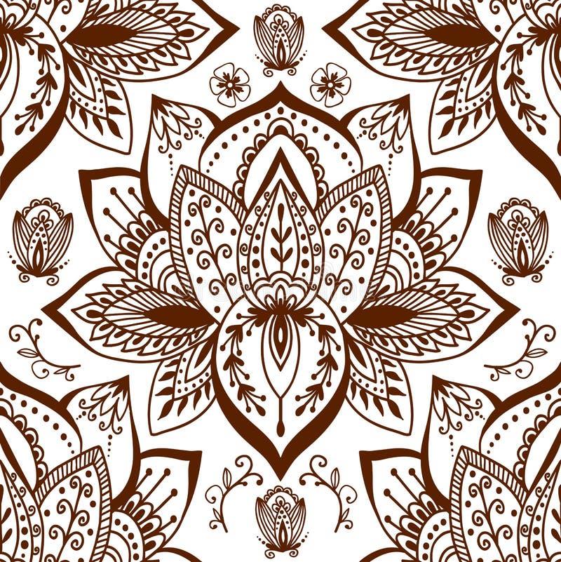 Enfeite sem emenda do arabesque de paisley do teste padrão do projeto indiano decorativo decorativo da garatuja da flor do mehndi ilustração do vetor