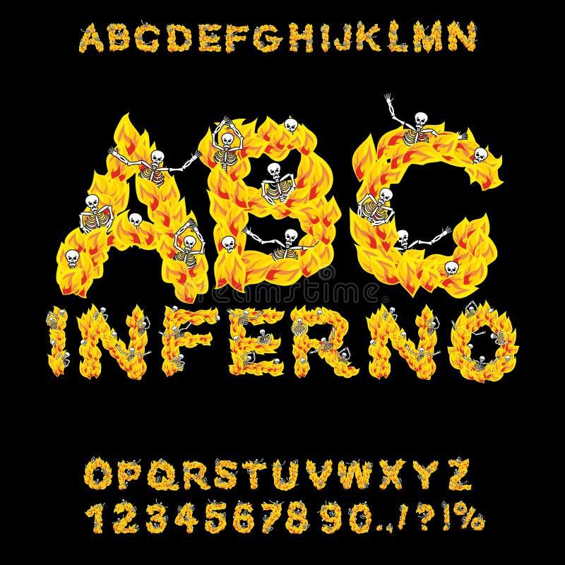 enfer ABC Police d'enfer Lettres du feu Pécheurs dans le feu d'enfer helli illustration stock