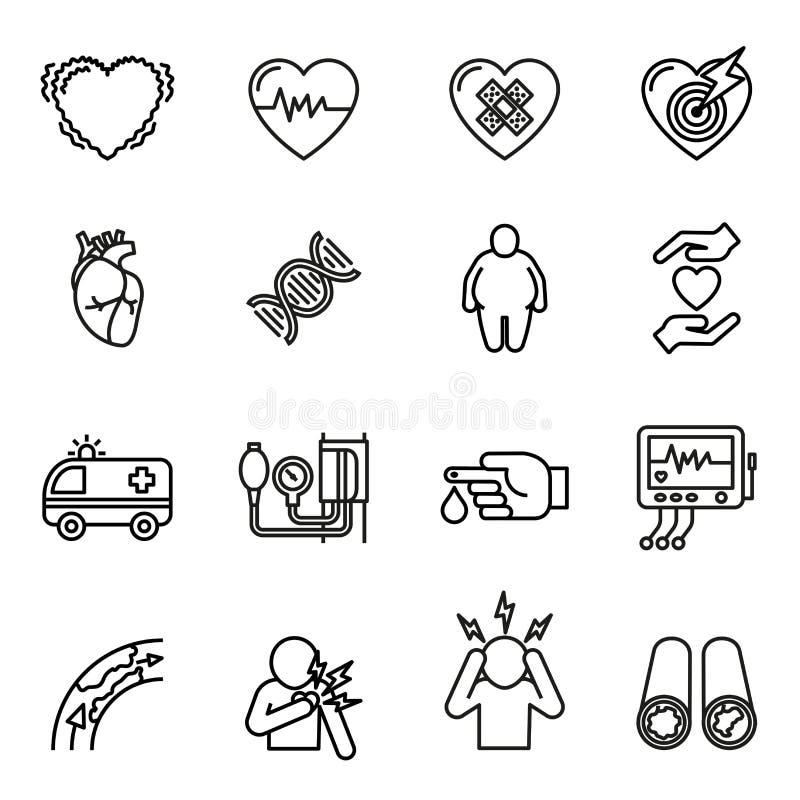 Enfermedad cardíaca, ataque del corazón e iconos de los síntomas fijados ilustración del vector