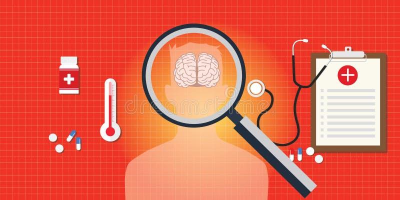 Enfermedad del cerebro o de la cabeza con informe médico ilustración del vector