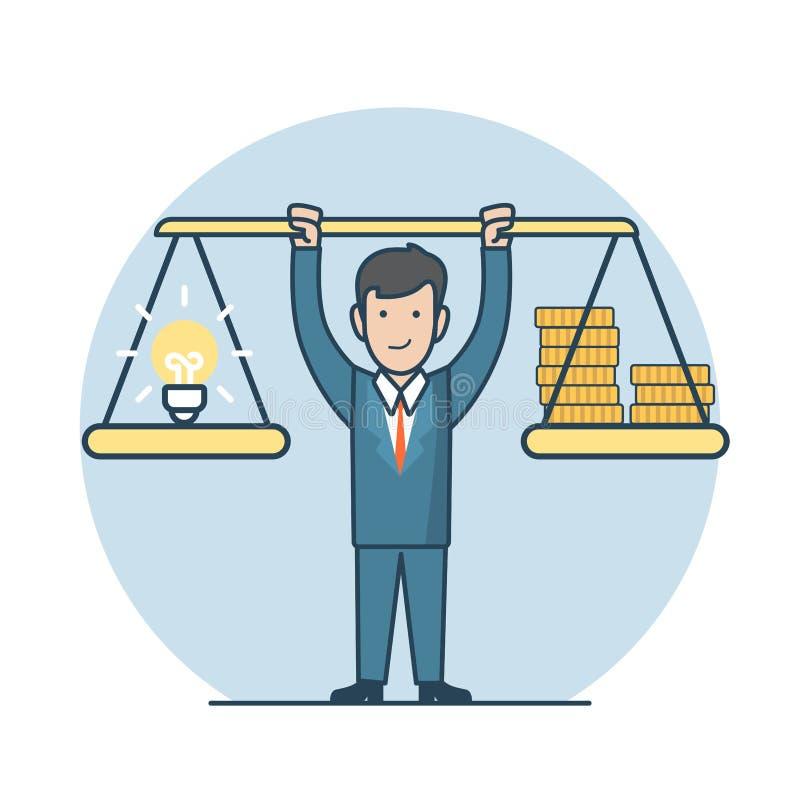 Enfermedad plana linear del negocio del vector del hombre de la venta de la lámpara de la moneda libre illustration